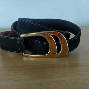 Gucci Accessories - Vintage Gucci Brown Suede Belt-Gold-Tone Buckle